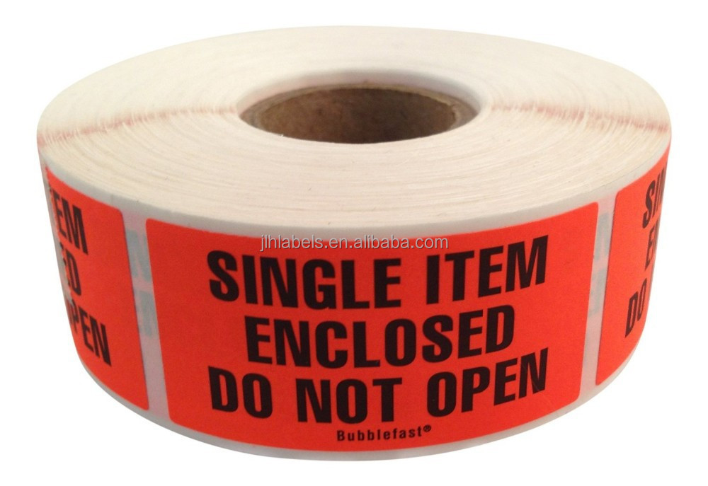 "Single Item Enclosed Do Not Open Labels 500/roll 1"" x 2"" Fluorescent red Label"