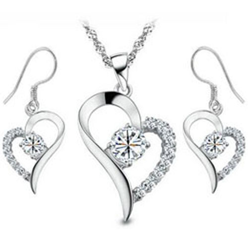 Crystal Heart Set White Gold Plated