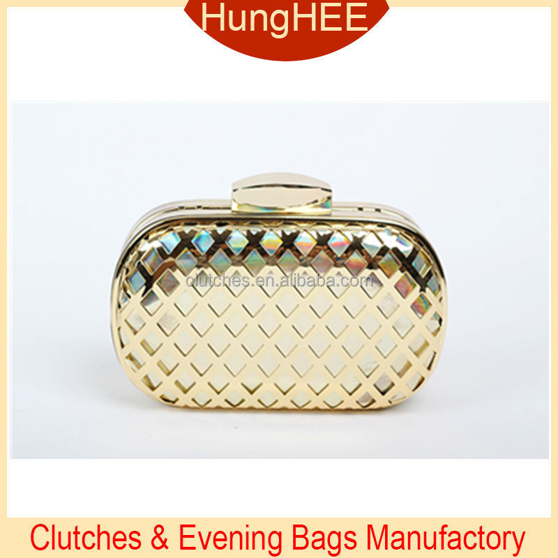 Hollow Metal Mesh Evening bags metallic leather wallet purse HH-M1598