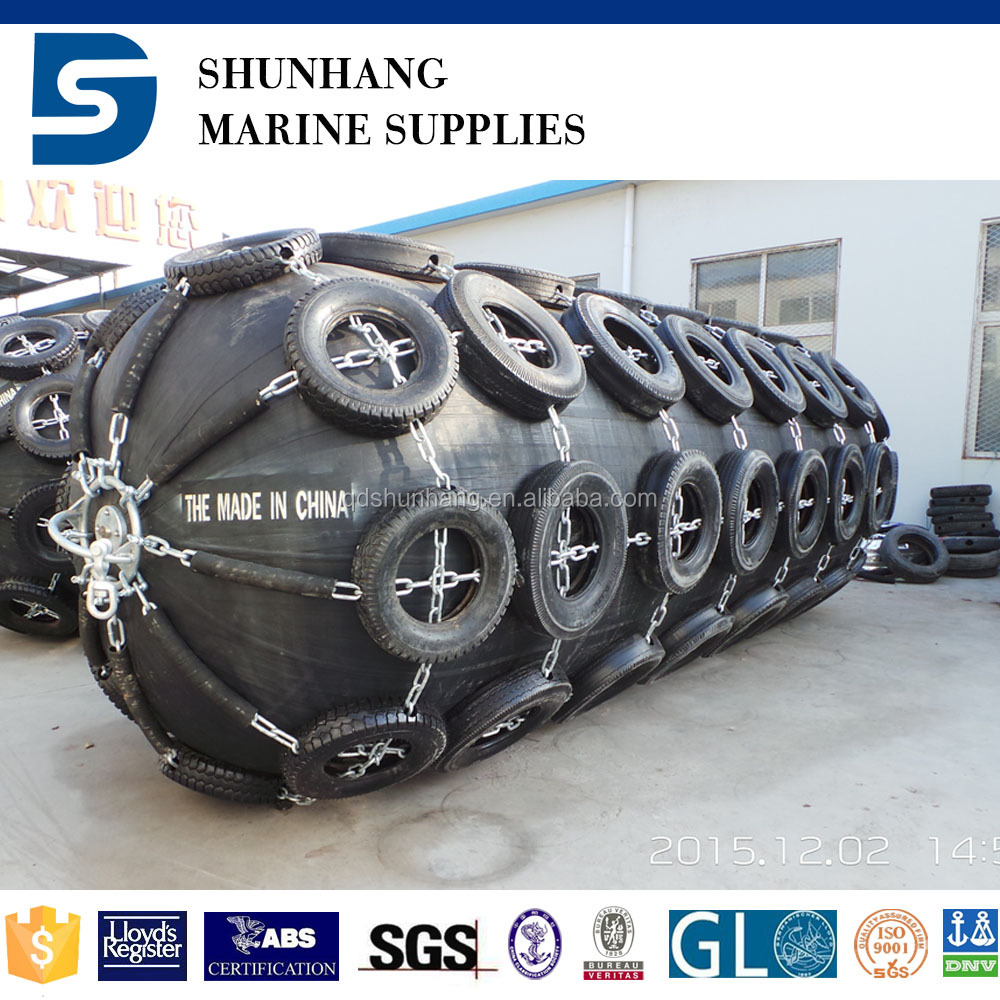 Inflatable dock fenders with chain and tyre net