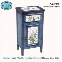 Hand Painted Interior Blue Pattern Cabinet Wooden Small Furniture