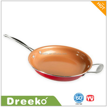 Red 12 Inch Copper Frying Pan Non-stick With Helper Handle
