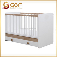 Baby crib with drawers wooden white baby bed GEF-BB-228