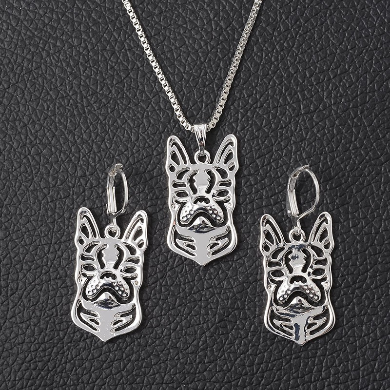 Antique Silver Crystal French Bulldog Necklace Earring Set