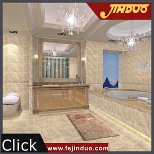 Foshan high gloss 300x300mm beige color marble look bathroom floors tiles