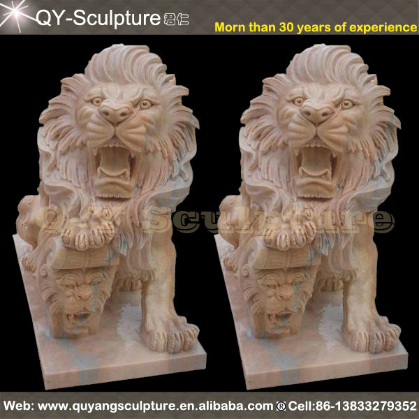 Red Stone Lion Garden Sculptures