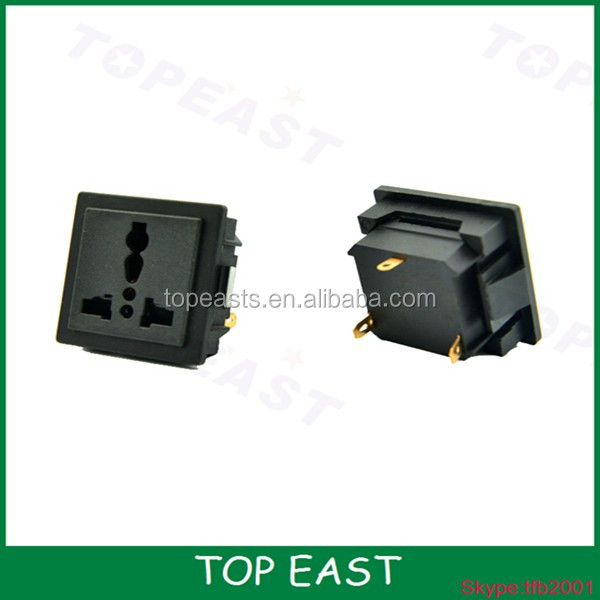 AC plastic power jack plug socket with fuse with panel mount