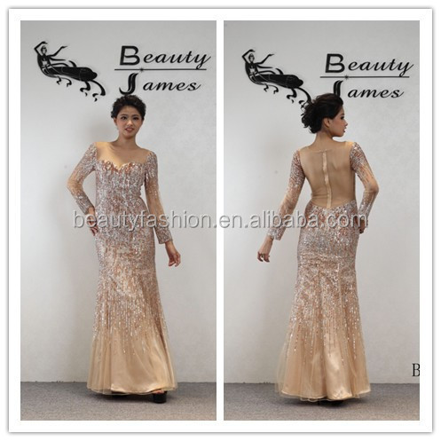2016 champagne color long sleeves net fabric beaded pattern grace evening dresses & wedding dresses B4602A