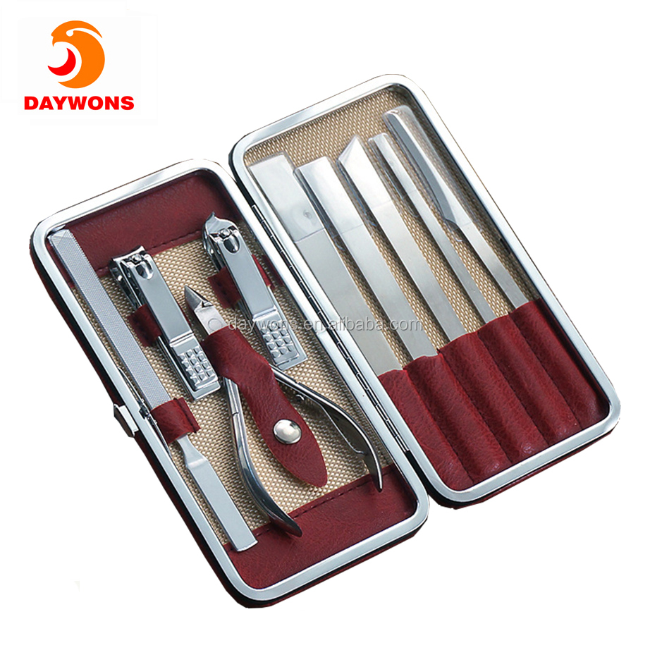 Professional Manicure Pedicure Set - 9 Piece Stainless Steel Nail Clipper Care Kit with Leather Travel Case