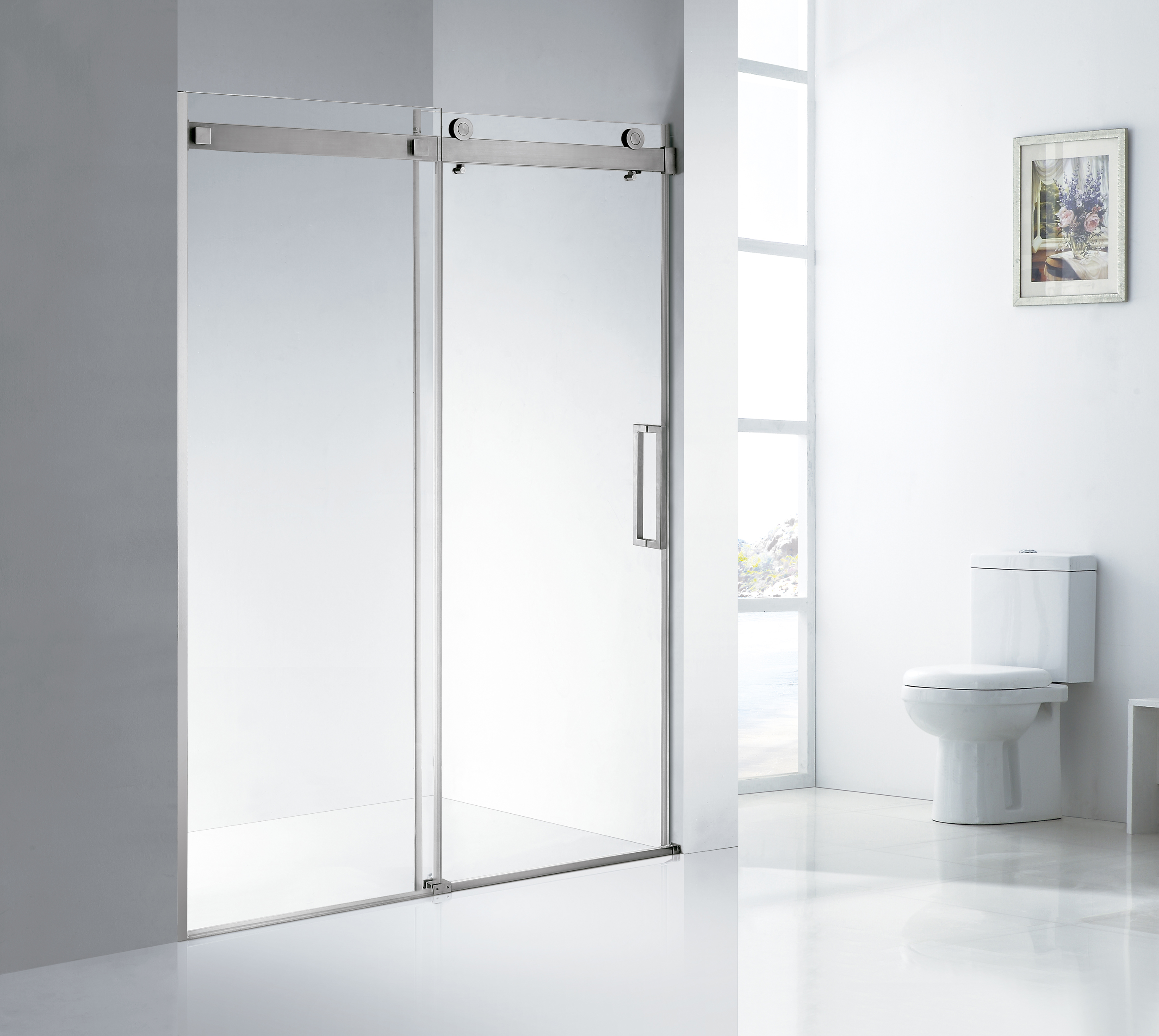 Frameless Stainless Steel Sliding Glass Shower Doors (KD8113)