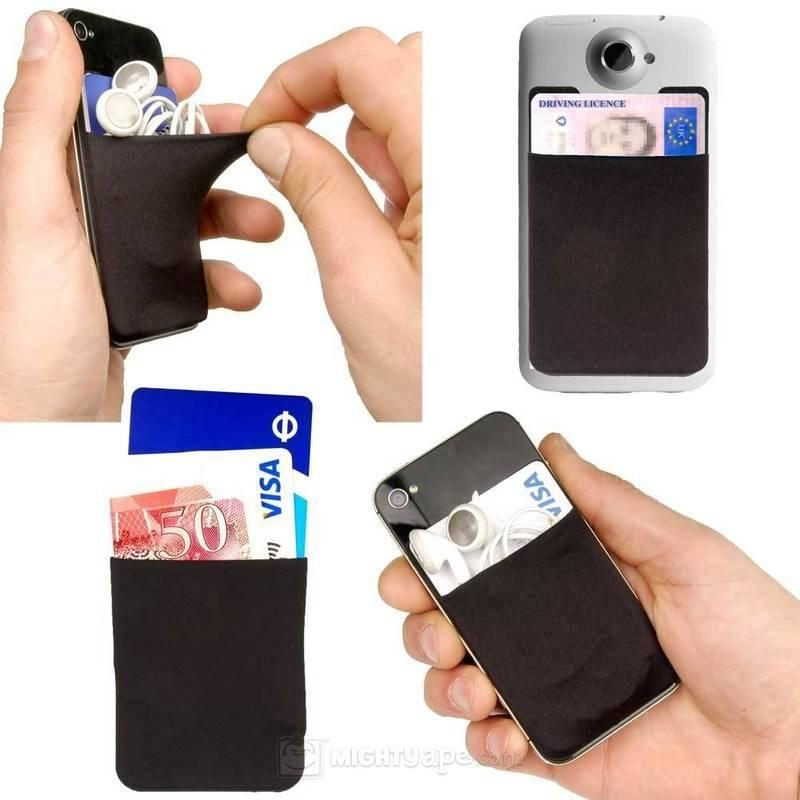Custom silicone 3m sticker wallet cell phone credit card holder with