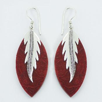 Marquise Red Coral Dangle Earrings Sterling Silver Leaf-like Decor