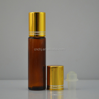 Amber Glass Essential Oil Rollerball Bottles with Stainless Steel Roller balls /rollball glass bottle