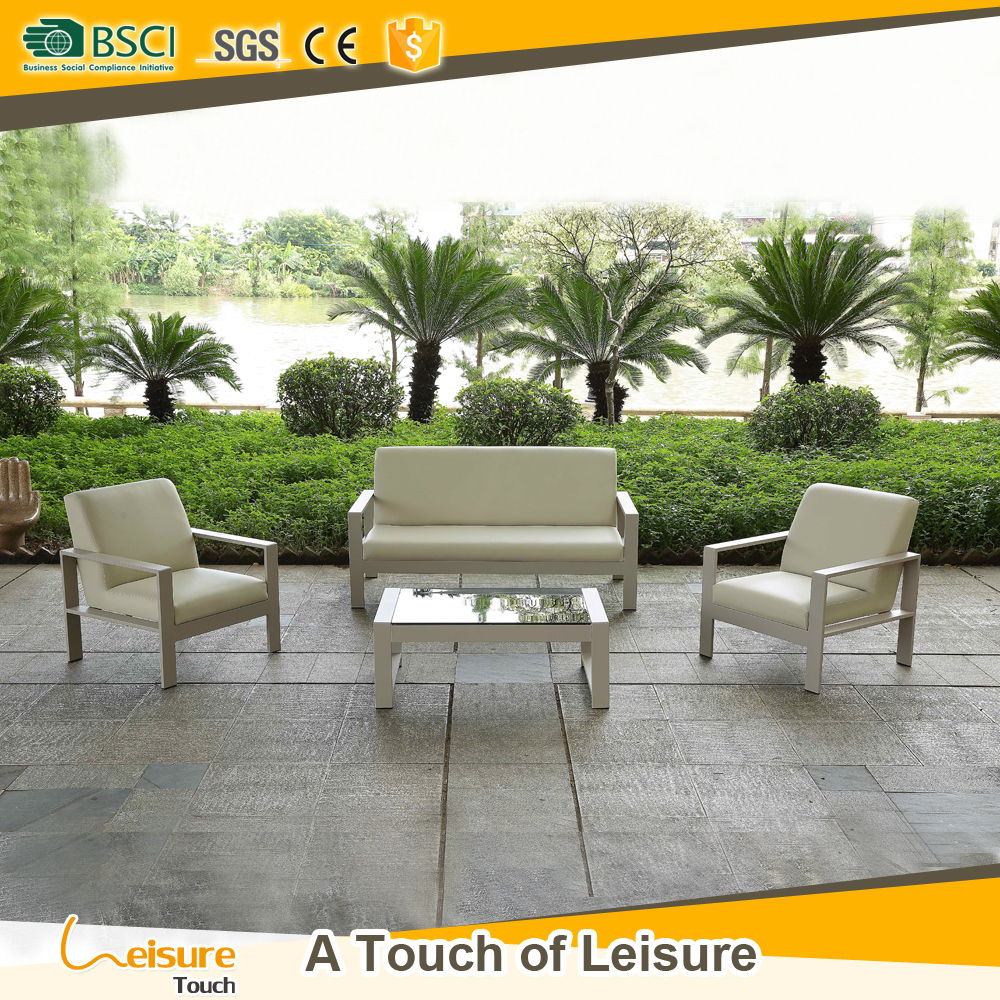 New design Italian type leather outdoor Sofa Set Furniture in garden sofas
