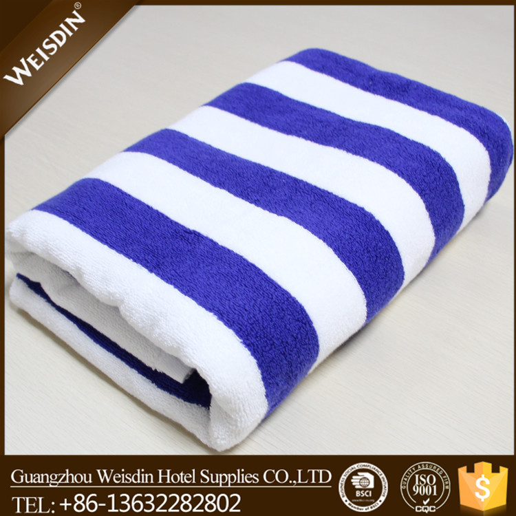 Wholesale 100% cotton custom blue and white stripe printed beach towels