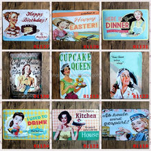 Wholesale Kitchen Dinner Cupcake Coffee Nostalgic Tin Sign Retro Wall Decor Vintage Craft Art Home Pub Bar Restaurant Decor
