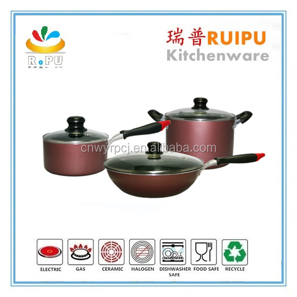 6pcs Aluminum prestige non-stick cookware set,elegant bright colored decorative cookware ,flam free cooking pot