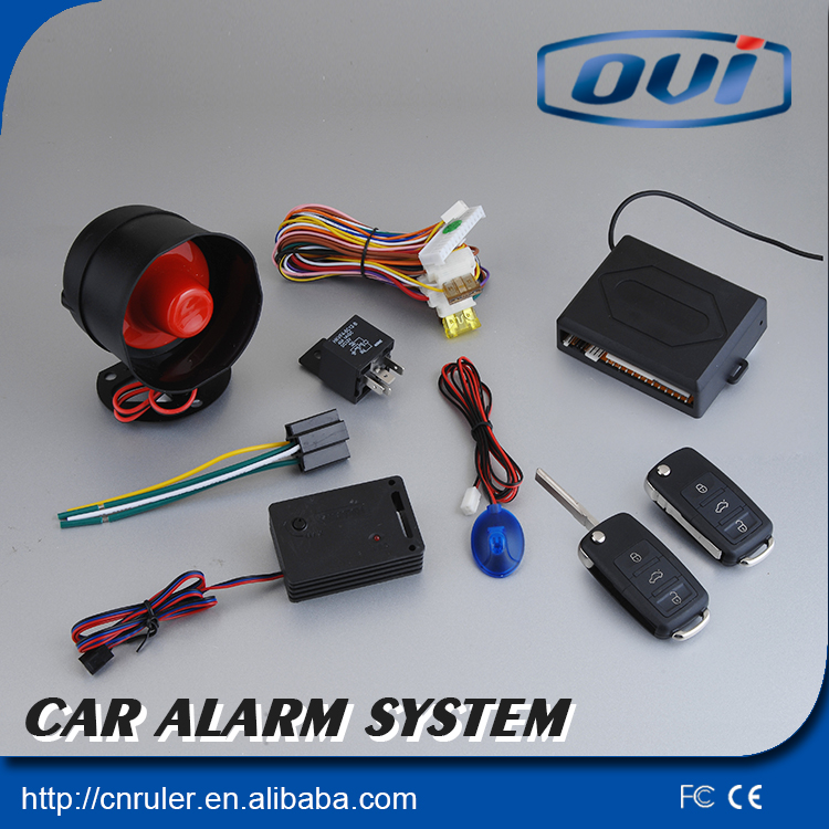 Car design 1-way car alarm system with flip keys have anti-hijacking function Auto lock/unlock keyless entry system