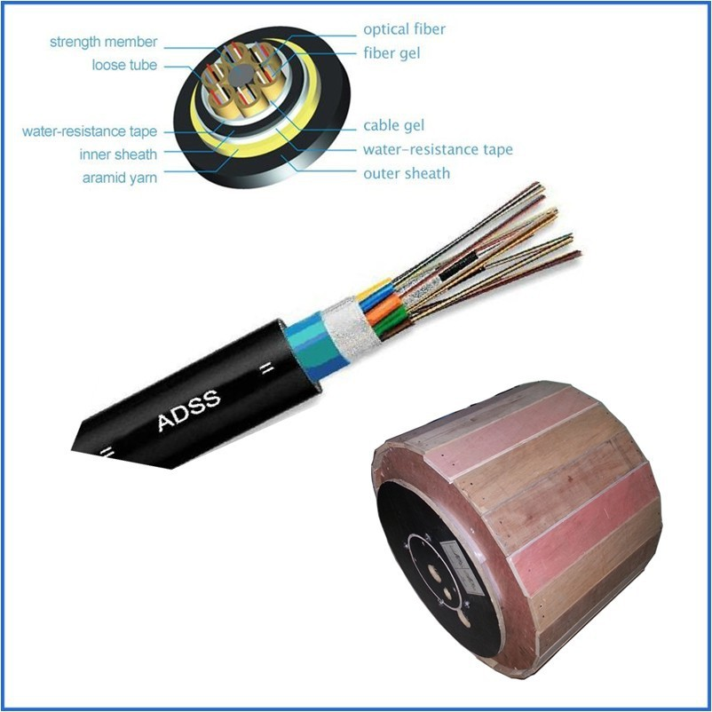 outdoor 12 core single mode ADSS fiber optic cable
