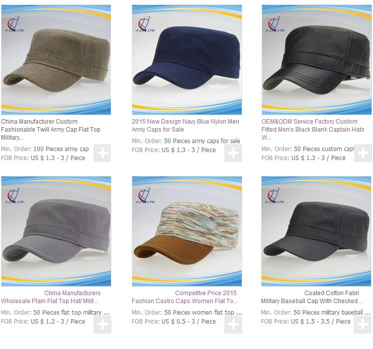 Custom satin fabric checked lining fashion army military caps hats with self fabric strap hook and loop adjuster for lady woman