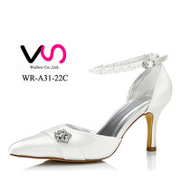 women shoes rhinestone pointy toe dyeable satin bridal shoes WR-A31-22c women dress shoes