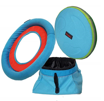 New design  durable chewproof &weatherproof flying disc and Ring toss and collapsible water bowl Doggie Playtime Toy set