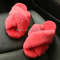 "Factory price wholesale custom warm fur winter indoor slipper with upper ''X"" design"