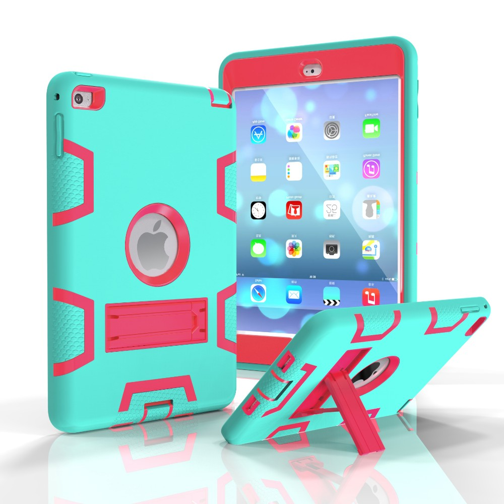 For IPad Mini 4 Case Full Body Protective Silicone Case PC Kickstand Case
