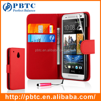 Set Screen Protector Stylus And Case For HTC One Mini , Red Leather Wallet Cell Phone Case For Mobile Phone Accessory