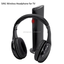 Wireless TV headset multifunction 5-in-1 headphone with FM radio
