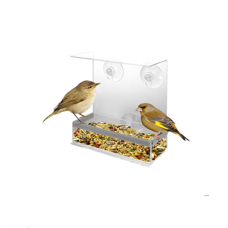 Wholesale Large House Removable Tray Window Bird feeder For Acrylic Window bird Feeder With Drain Holes And Strong Suction Cup