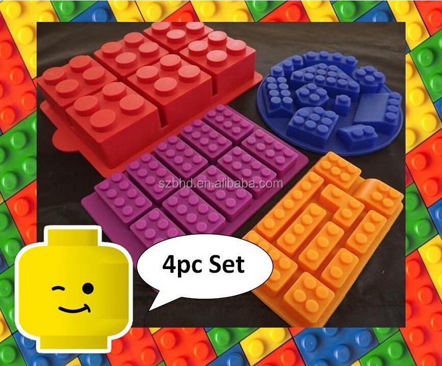 Multi Building Bricks and Minifigure Ice Cube Trays & Candy Chocolate Molds