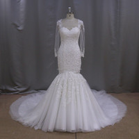 JA1039 fish cut trumpet lace sequin wedding dress 2016