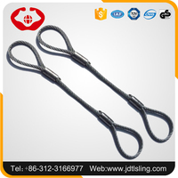 Pressed steel wire rope sling with soft eye