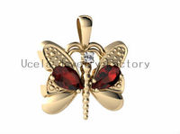 Genuine Mixed Stones Butterfly Pendant 14 karate yellow gold jewelry