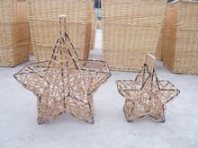Set of 2 star shape baskets (iron stand & steam willow) for gift