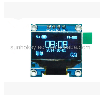 SSD1306 controller chip 0.96 inch 12864 blue oled 4pin IIC I2C communication