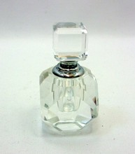 Crystal Perfume Bottle with Glass Stopper and Silvertone Accents MH-XS0137