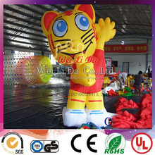 Cute attractive cartoon tiger shape inflatable cartoon for advertising