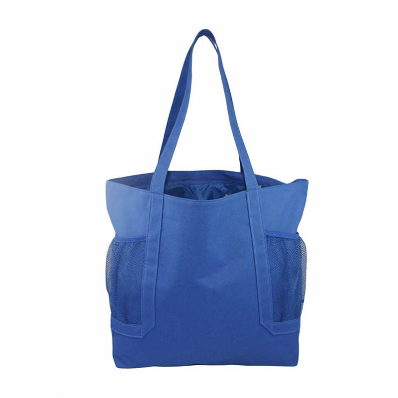 Recycle tote bag foldable shopping bag with two mesh pocket 600D bag