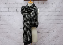 Black and white striped winter thick scarf/wool knitted scarf