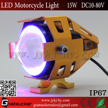 Colored-light Har ley lighting DC10V-80V 15w U6 led motorcycle fog light with angel eyes