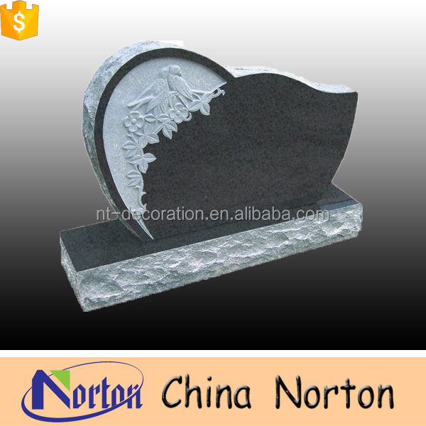 Stone heart shape carved granite tombstone low price with bird and flower decor NTGT-046L