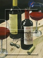 Excellent Quality Wall Art Decoration Wine Bottle Still Life Oil Painting on Canvas