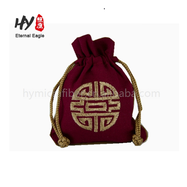With traditional embroidery colors easy use satin jewelry bag
