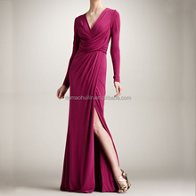 China supplier pink long-sleeve jersey gown elie saab dresses for sale