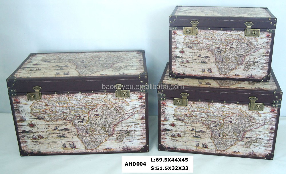 Antique map design wooden pirate chest