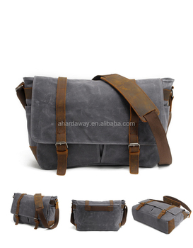 "Vintage fashion waxed waterproof canvas messenger shoulder bag satchel with genuine leather trim for 14"" laptop"