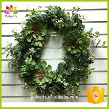 Spring wreath artificial flower wreath grapevine wreath with succulent and Eucalyptus