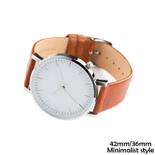 White dial Stainless steel back water resistant 30m japan 2035 movement quartz watch leather strap brown